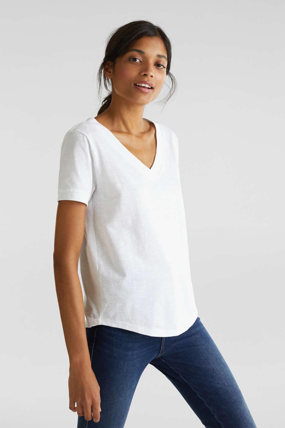 V-neck top, 100% cotton, WHITE, detail image number 0
