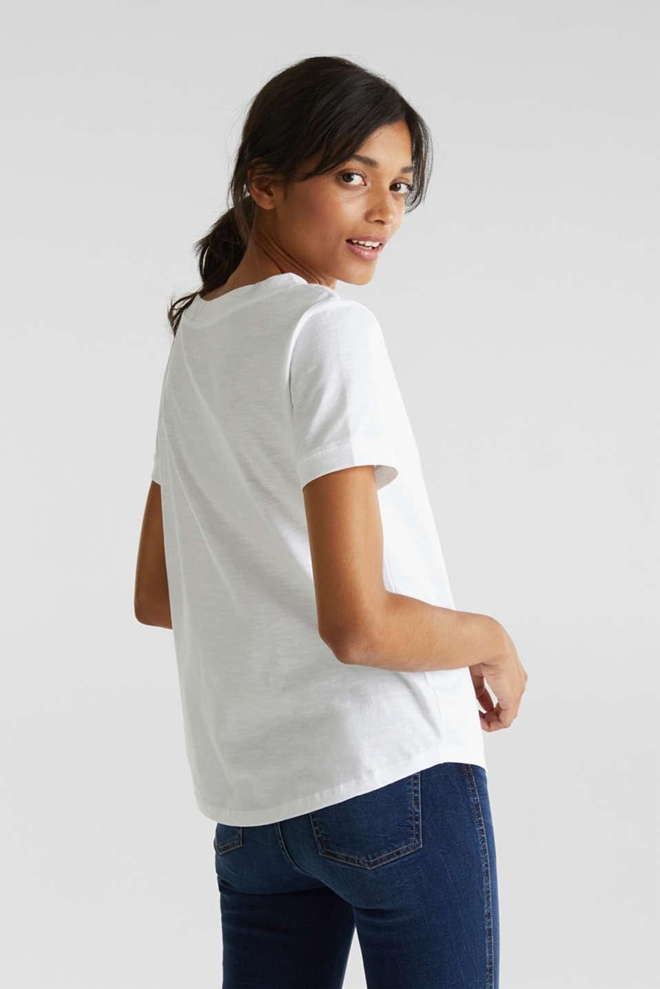 V-neck top, 100% cotton, WHITE, detail image number 2