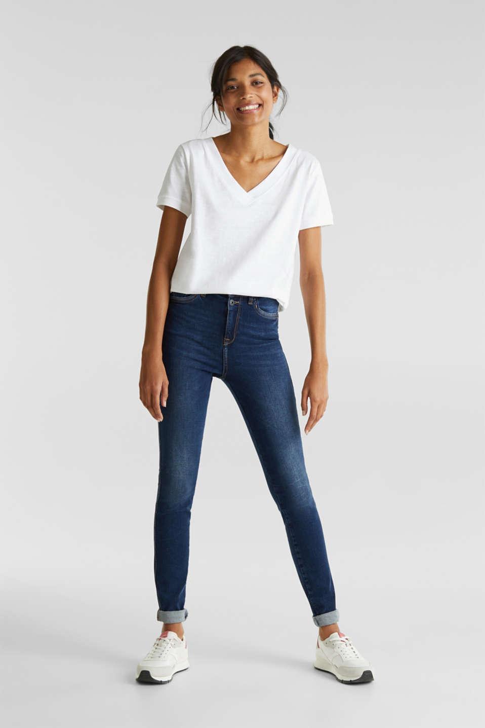 V-neck top, 100% cotton, WHITE, detail image number 1