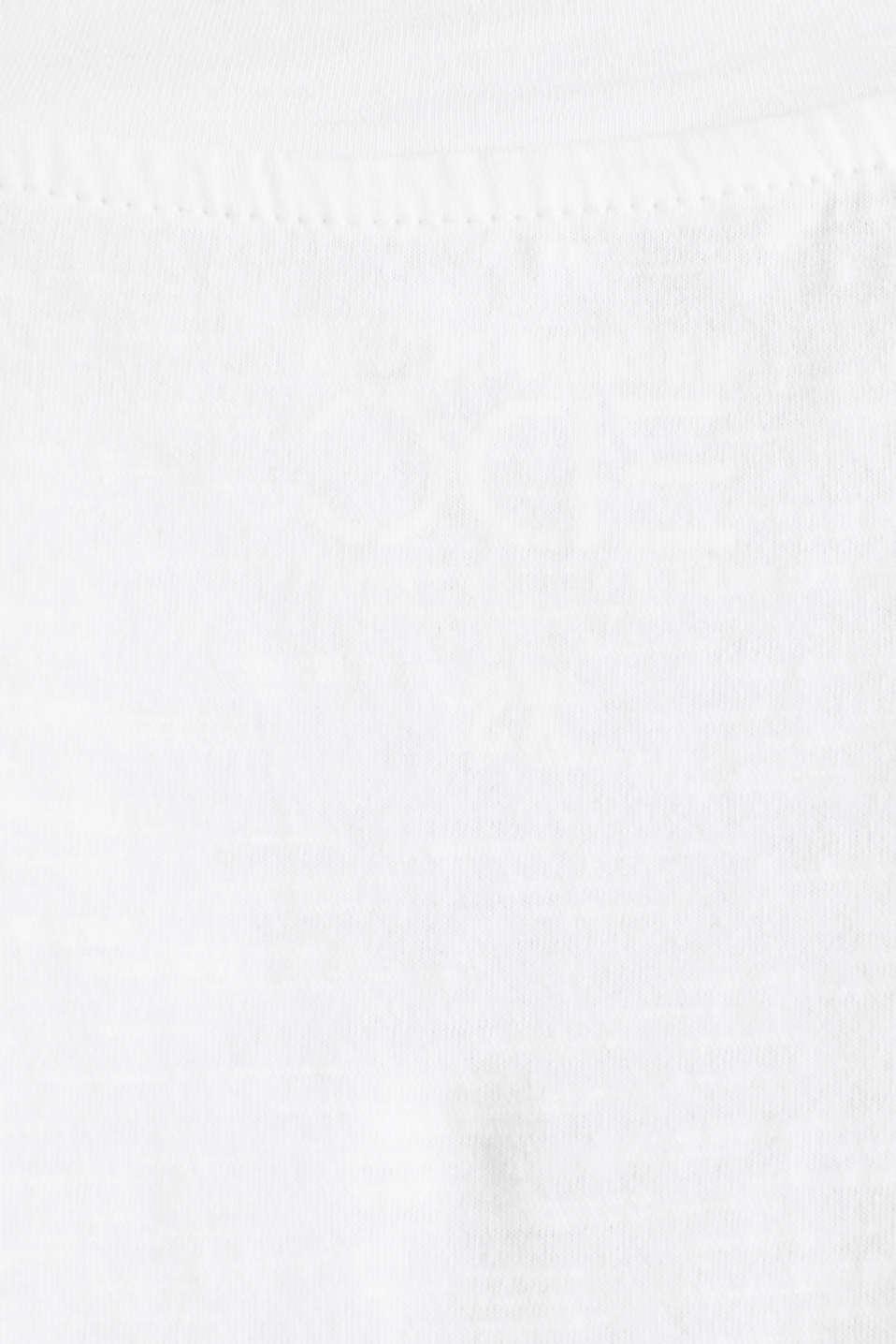 V-neck top, 100% cotton, WHITE, detail image number 3