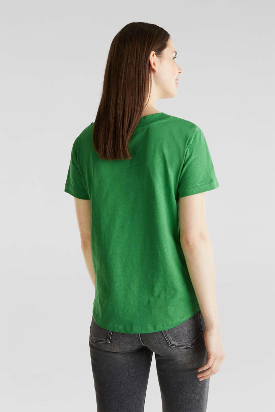 V-neck top, 100% cotton, GREEN 4, detail image number 2