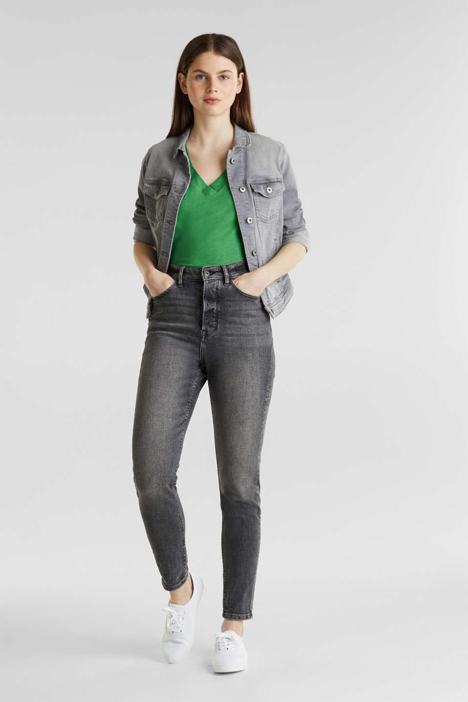 V-neck top, 100% cotton, GREEN 4, detail image number 1