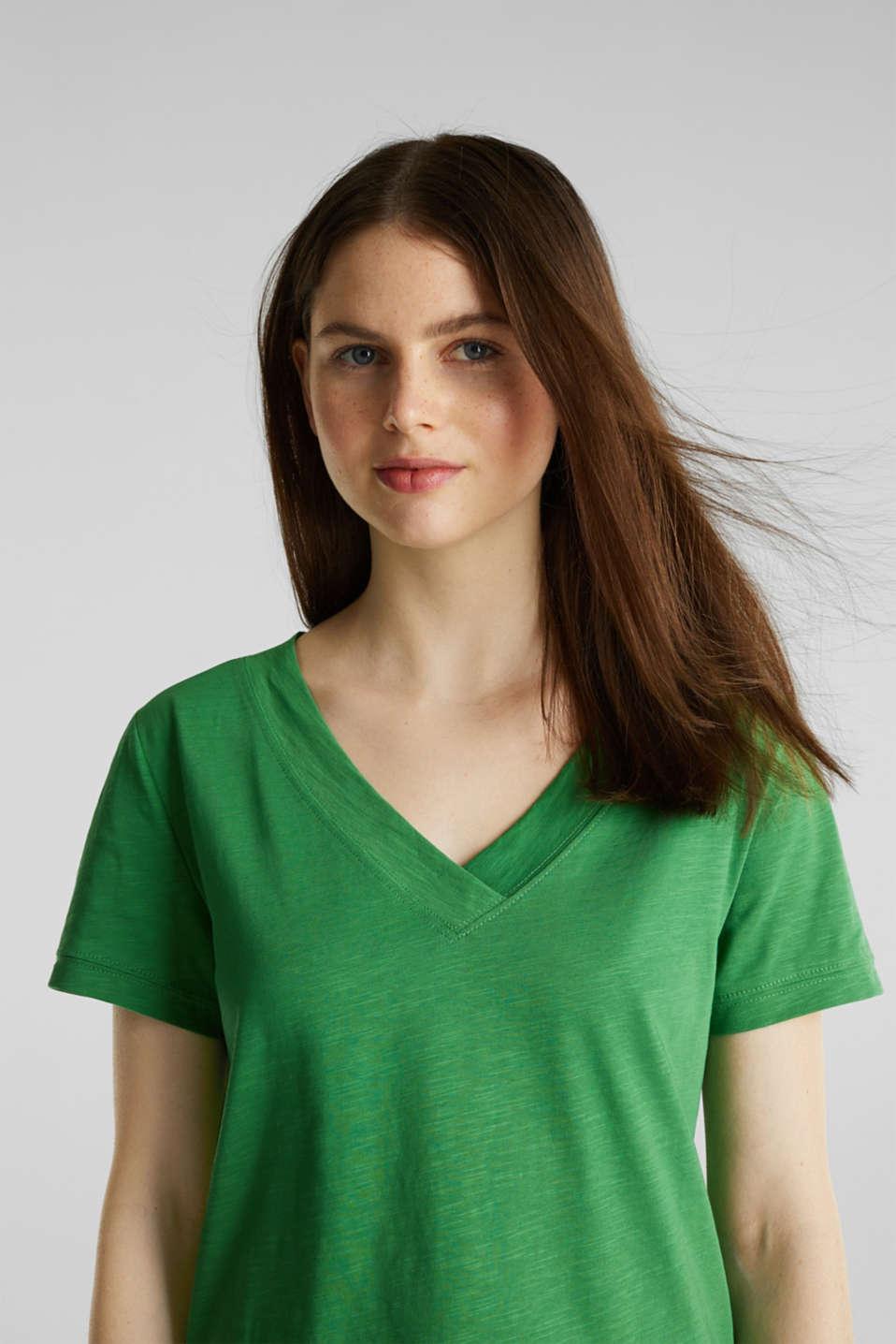 V-neck top, 100% cotton, GREEN 4, detail image number 6