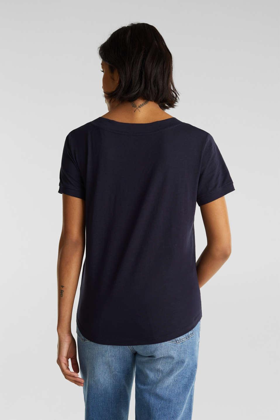 V-neck top, 100% cotton, NAVY, detail image number 3