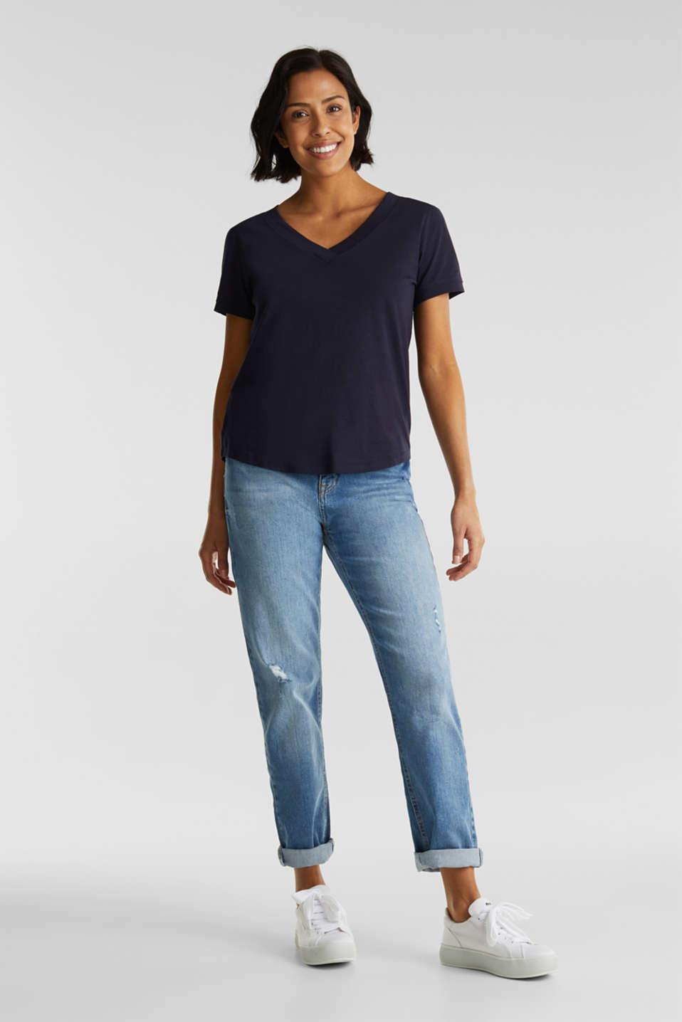 V-neck top, 100% cotton, NAVY, detail image number 1