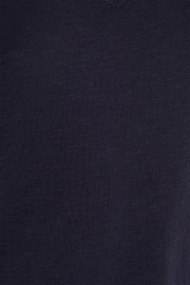 V-neck top, 100% cotton, NAVY, detail