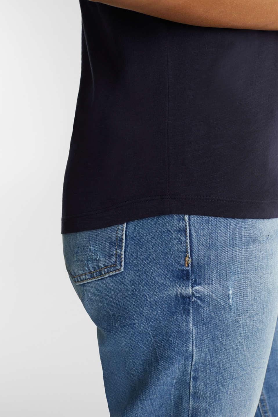 V-neck top, 100% cotton, NAVY, detail image number 5