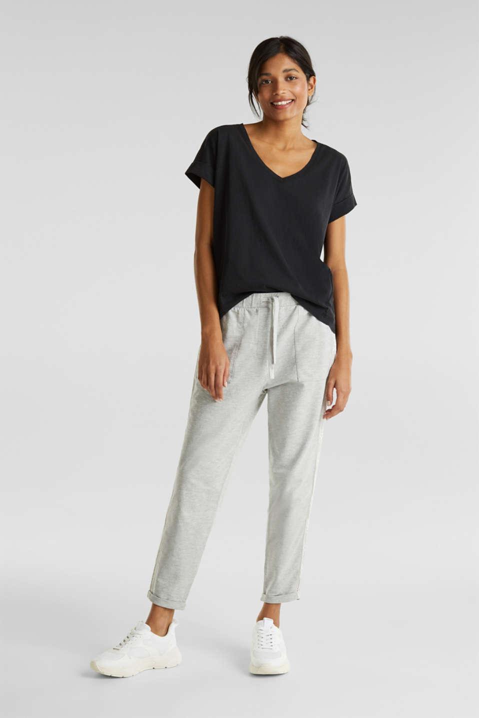 V-neck top, 100% cotton, BLACK, detail image number 1