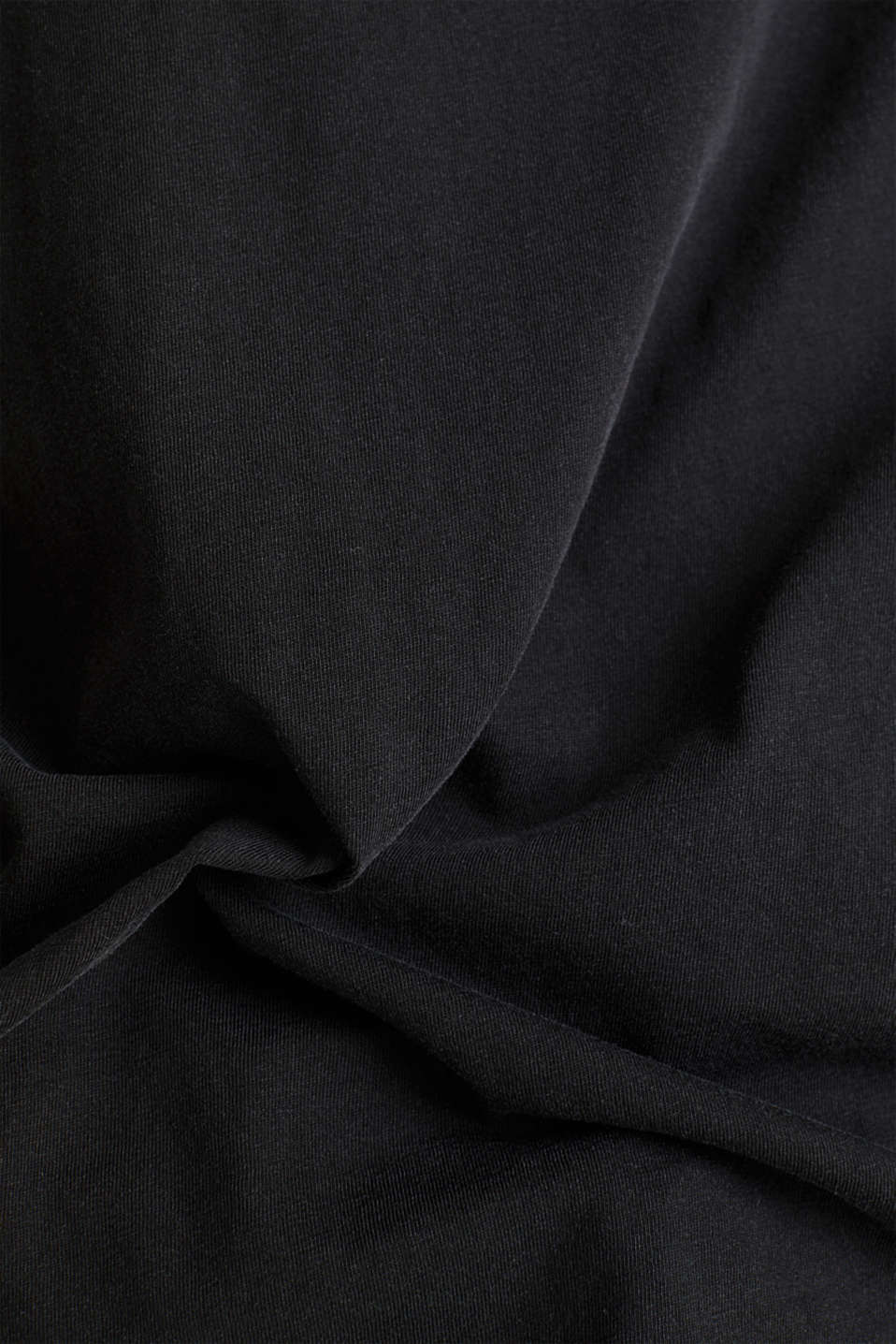 V-neck top, 100% cotton, BLACK, detail image number 4