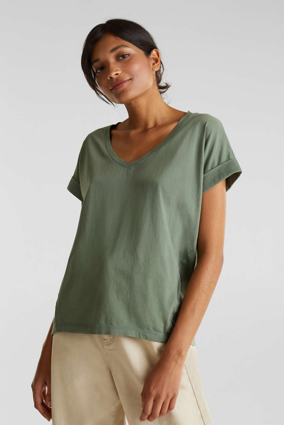 edc - Boxy V-neck T-Shirt, 100% cotton
