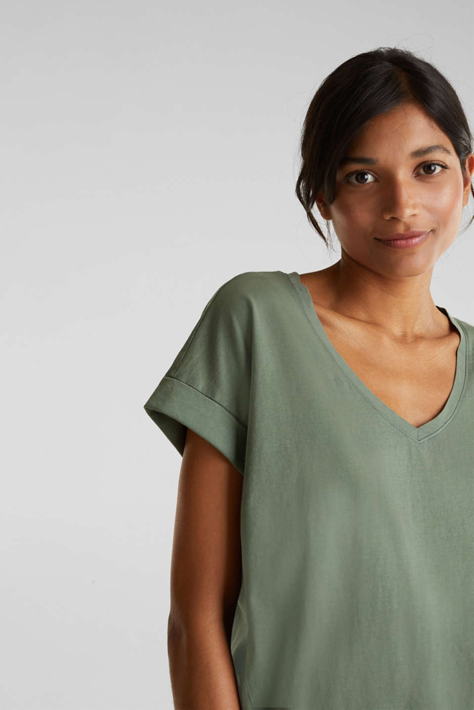 V-neck top, 100% cotton, KHAKI GREEN 4, detail image number 2