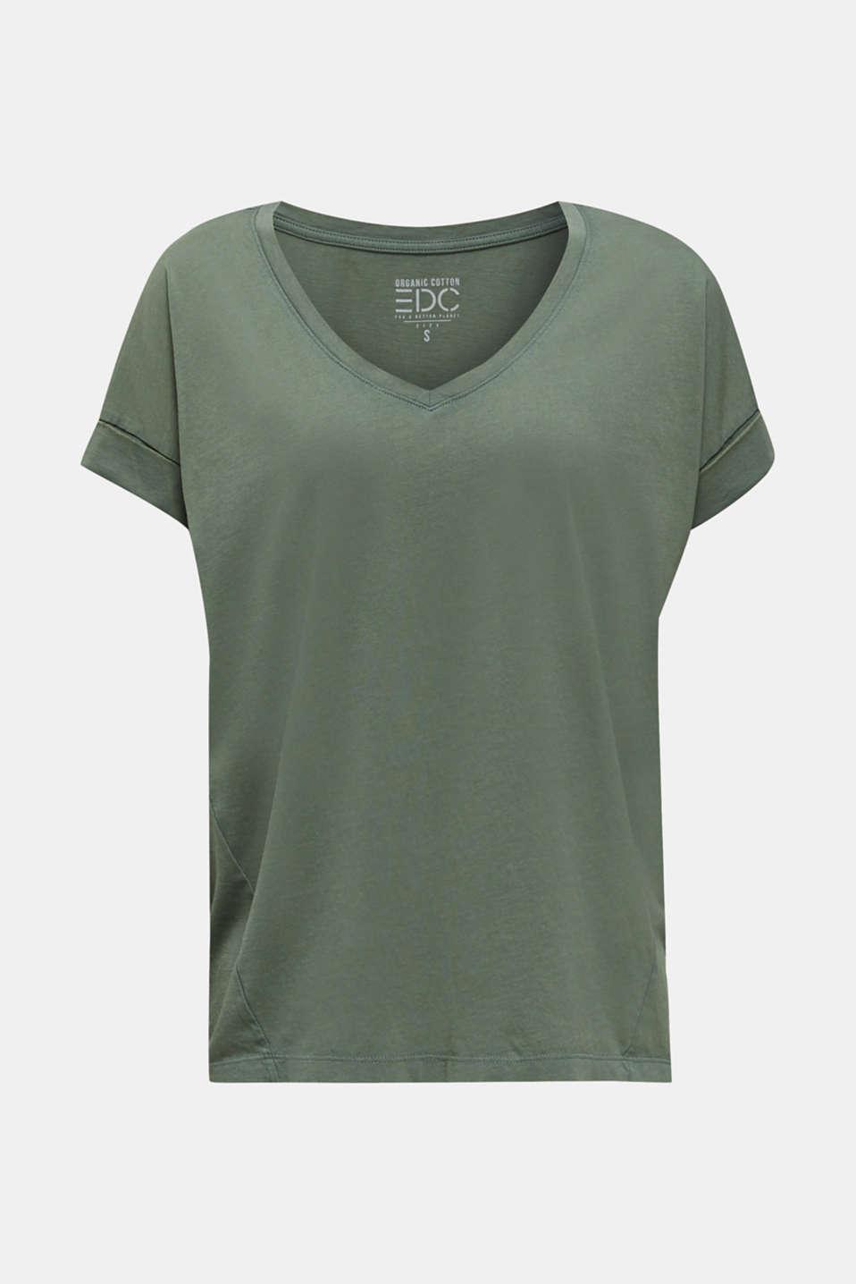 V-neck top, 100% cotton, KHAKI GREEN 4, detail image number 5