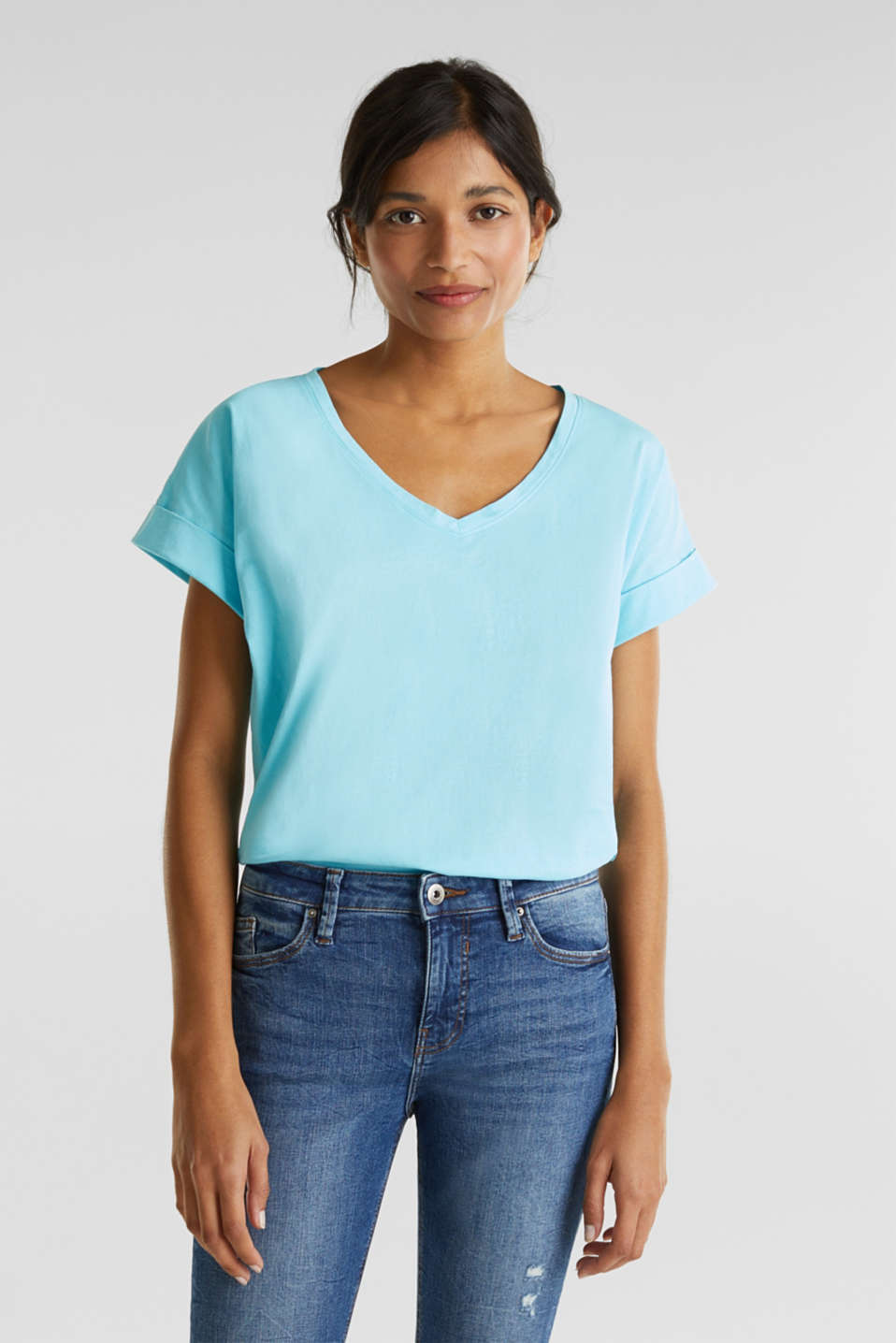 V-neck top, 100% cotton, TURQUOISE 4, detail image number 0