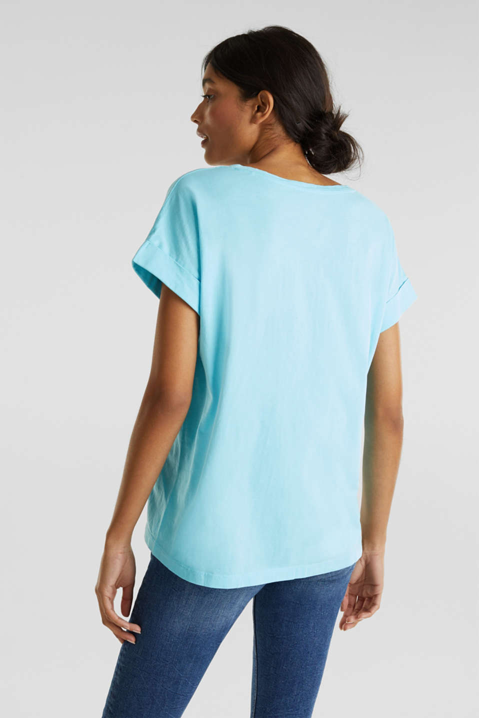 V-neck top, 100% cotton, TURQUOISE 4, detail image number 3