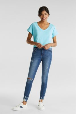 V-neck top, 100% cotton, TURQUOISE 4, detail