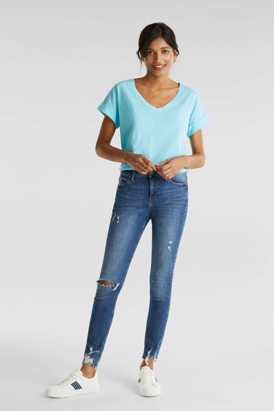 V-neck top, 100% cotton, TURQUOISE 4, detail image number 1
