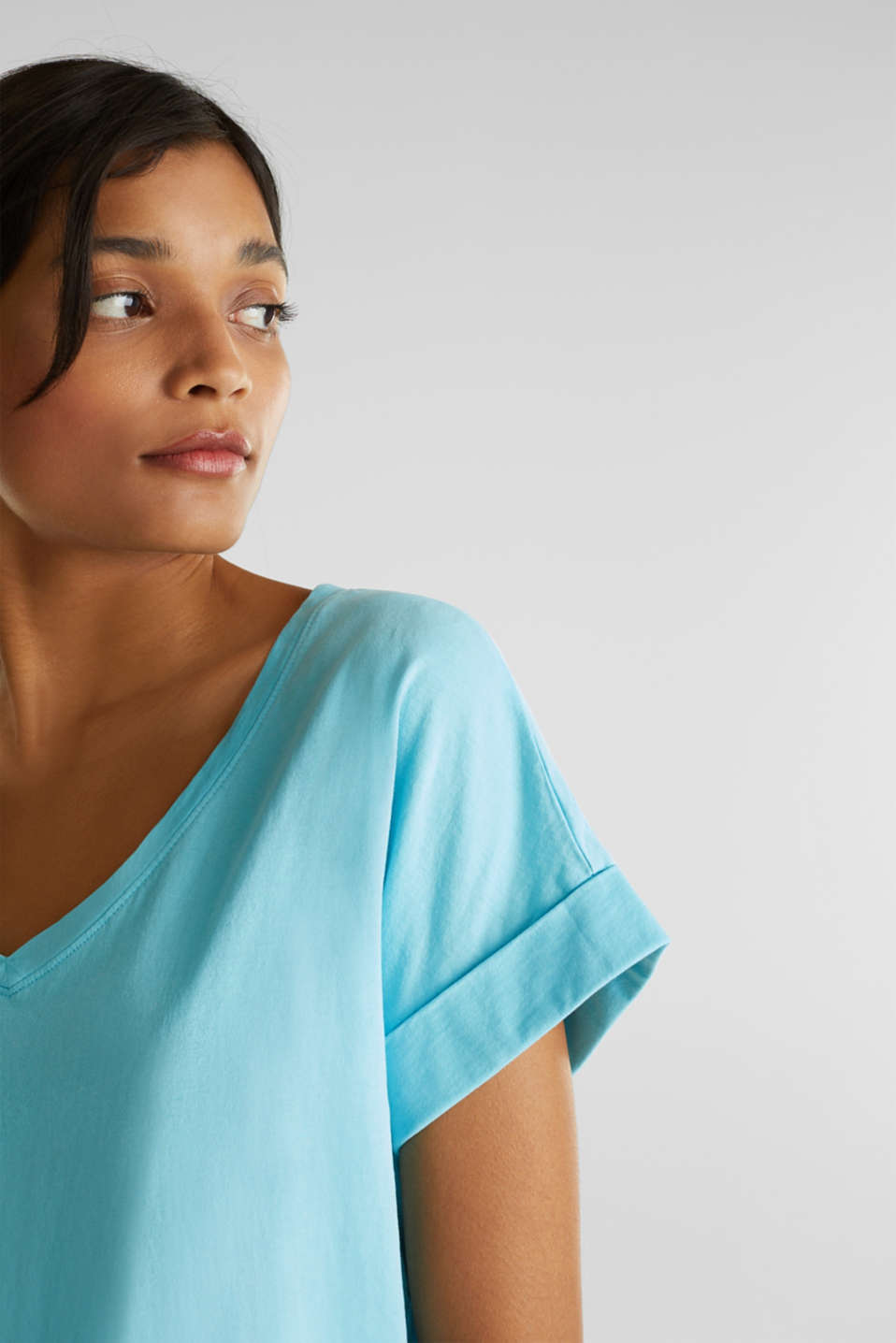 V-neck top, 100% cotton, TURQUOISE 4, detail image number 2