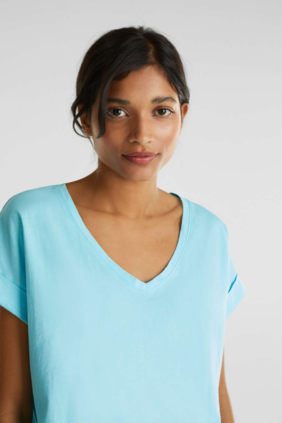 V-neck top, 100% cotton, TURQUOISE 4, detail image number 5