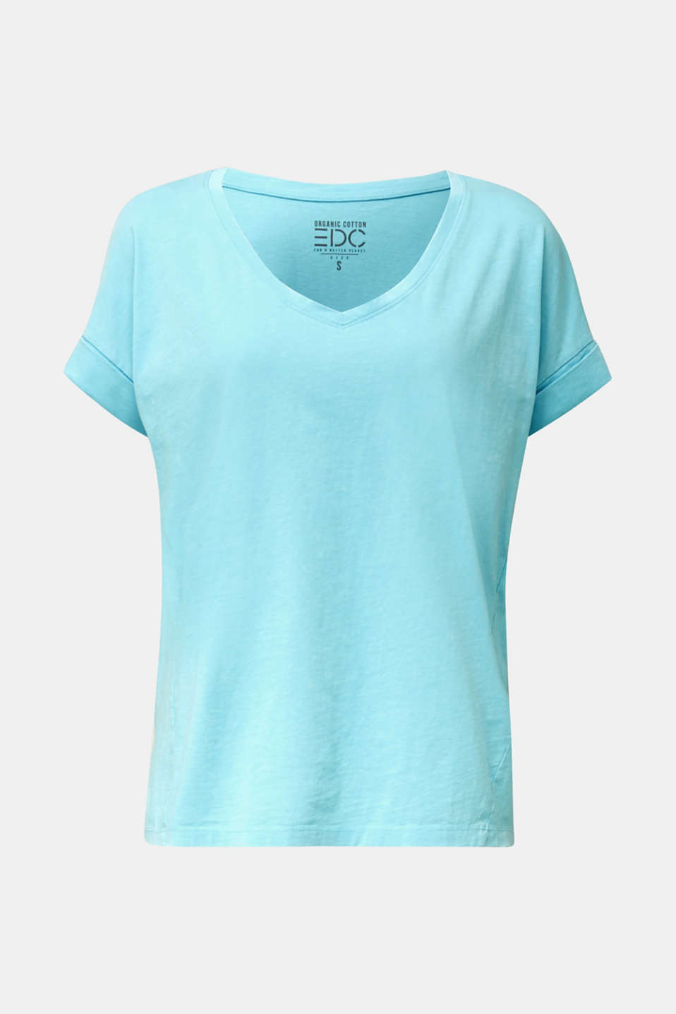 V-neck top, 100% cotton, TURQUOISE 4, detail image number 6