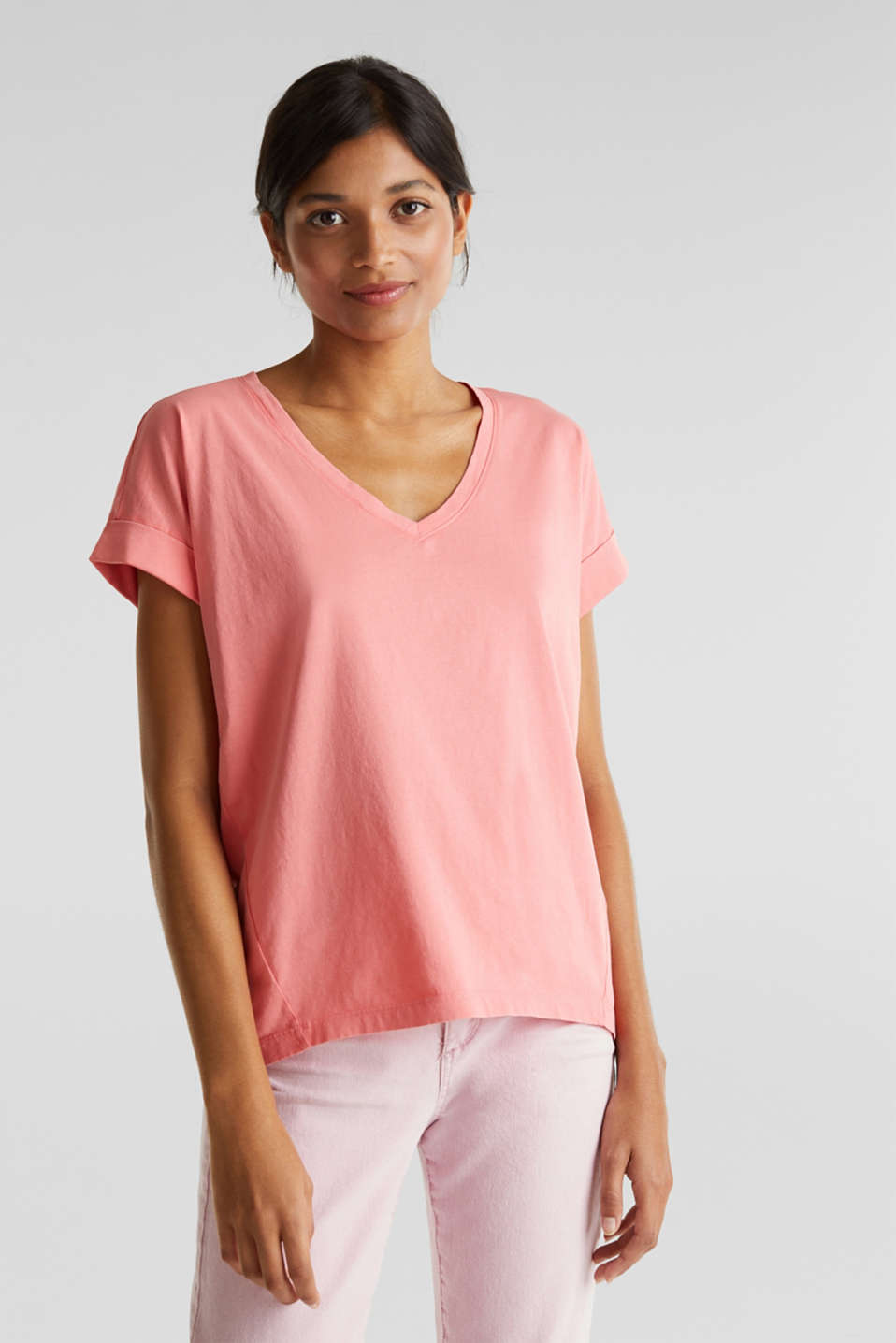 V-neck top, 100% cotton, CORAL 3, detail image number 0