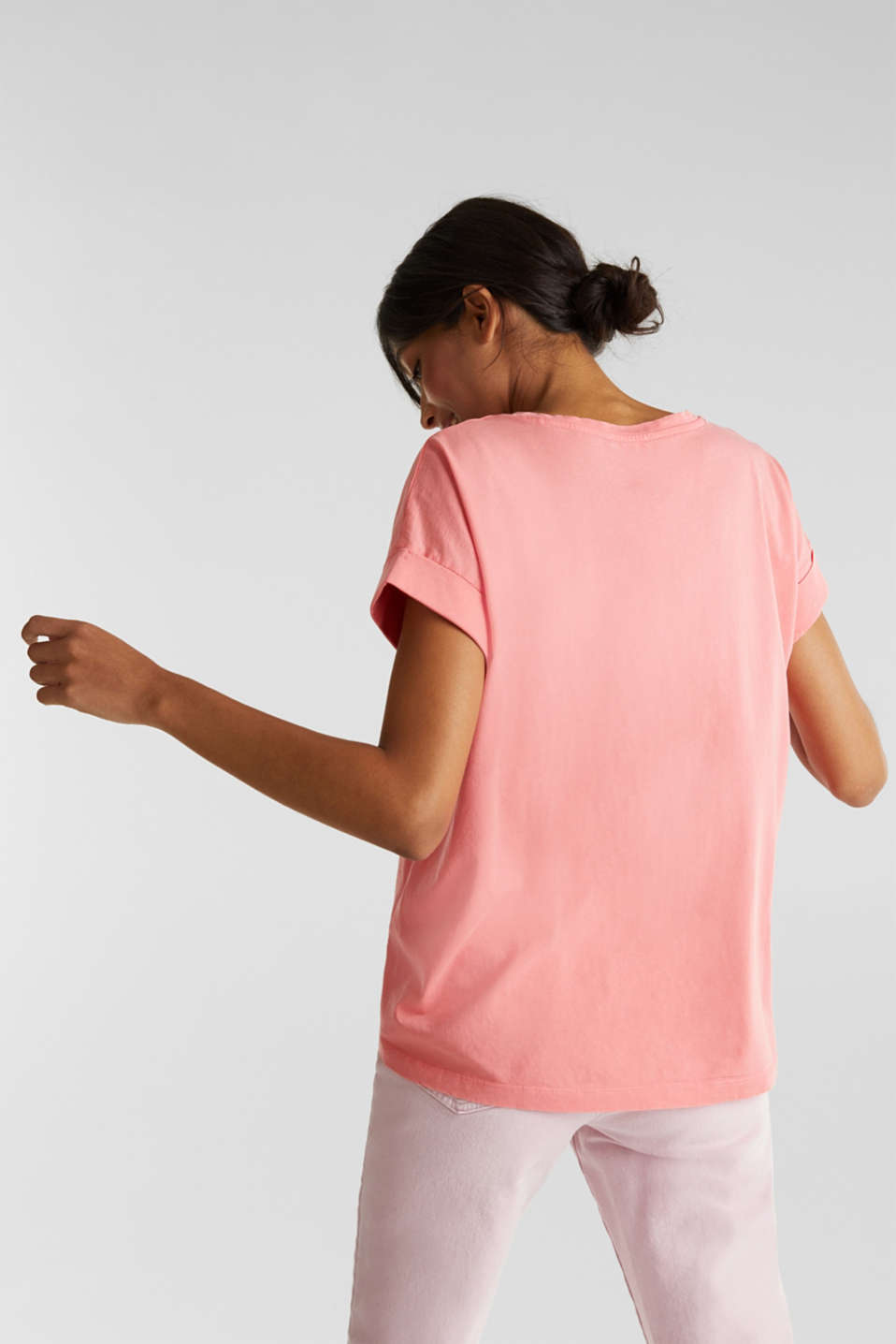 V-neck top, 100% cotton, CORAL 3, detail image number 3