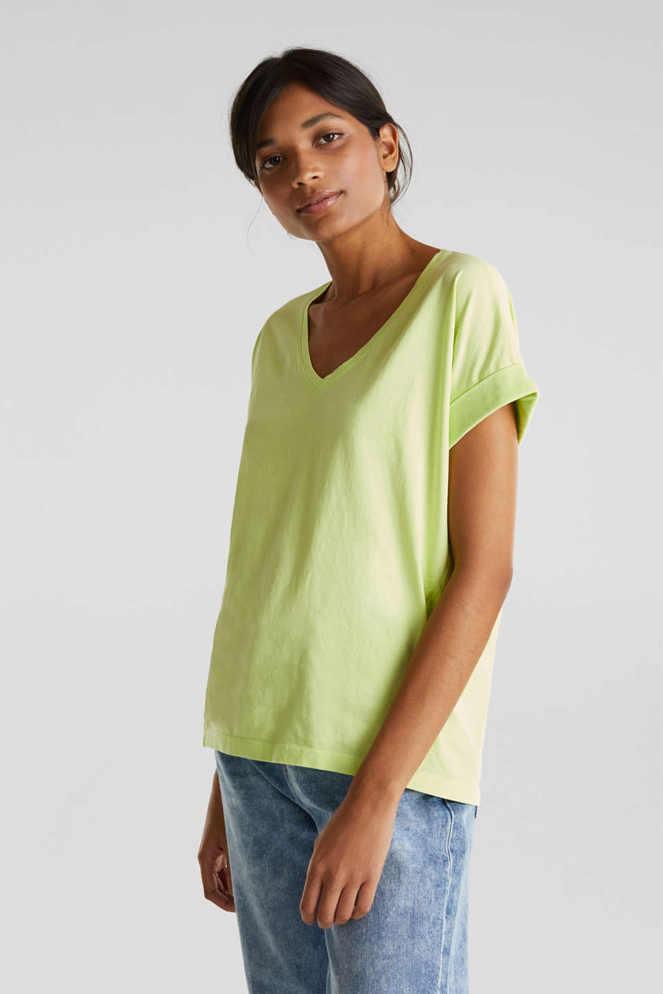 V-neck top, 100% cotton, LIME YELLOW 4, detail image number 0