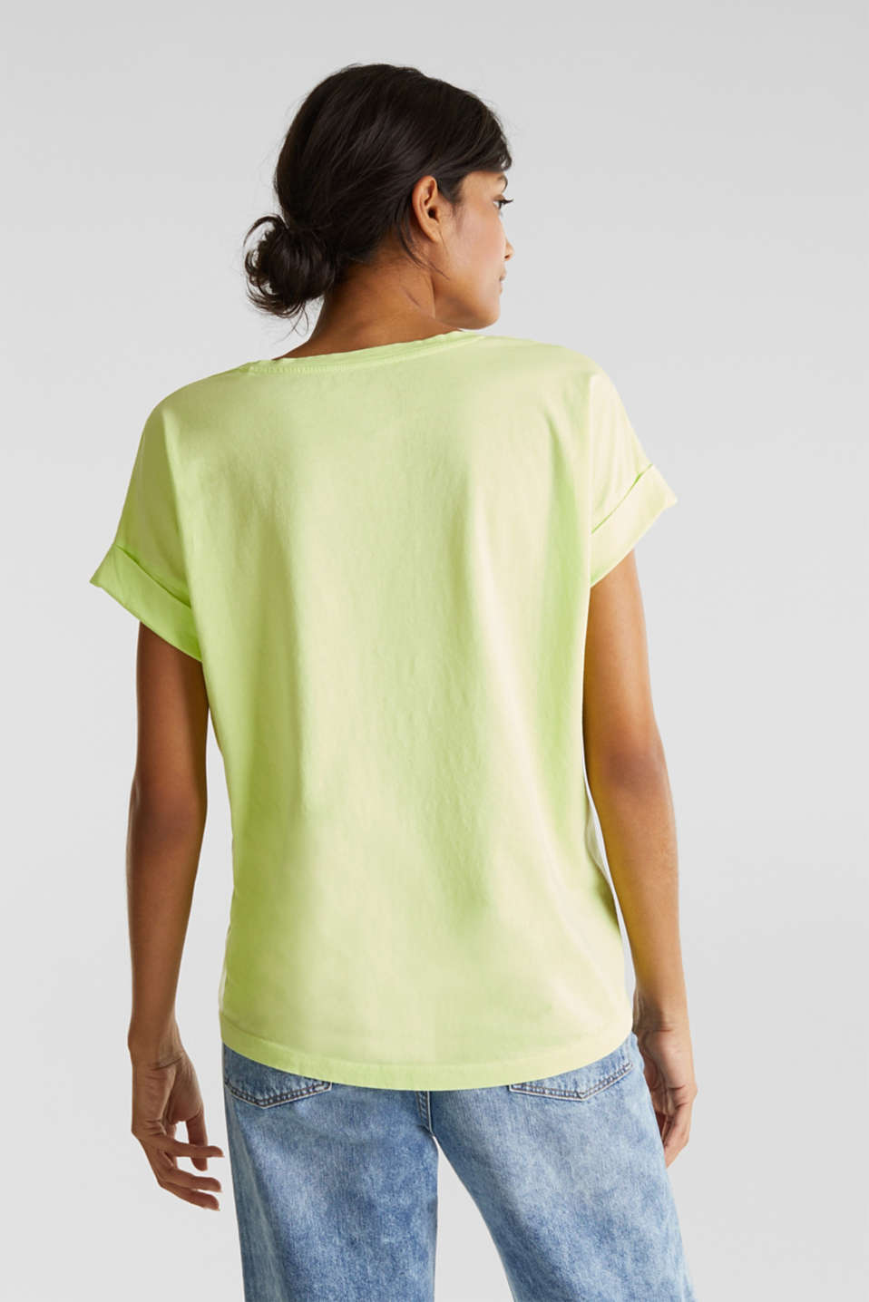 V-neck top, 100% cotton, LIME YELLOW 4, detail image number 3