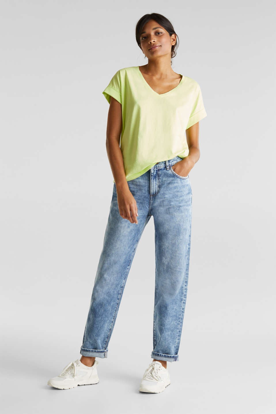V-neck top, 100% cotton, LIME YELLOW 4, detail image number 1