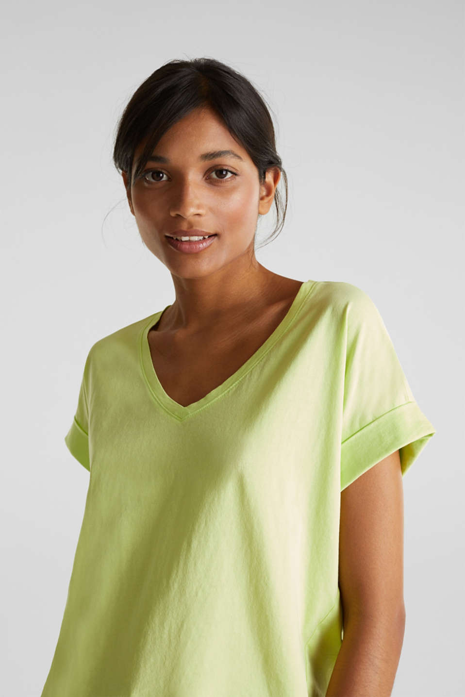V-neck top, 100% cotton, LIME YELLOW 4, detail image number 2