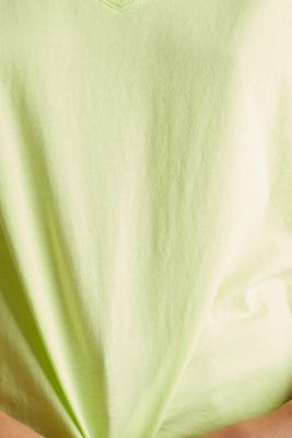 V-neck top, 100% cotton, LIME YELLOW 4, detail
