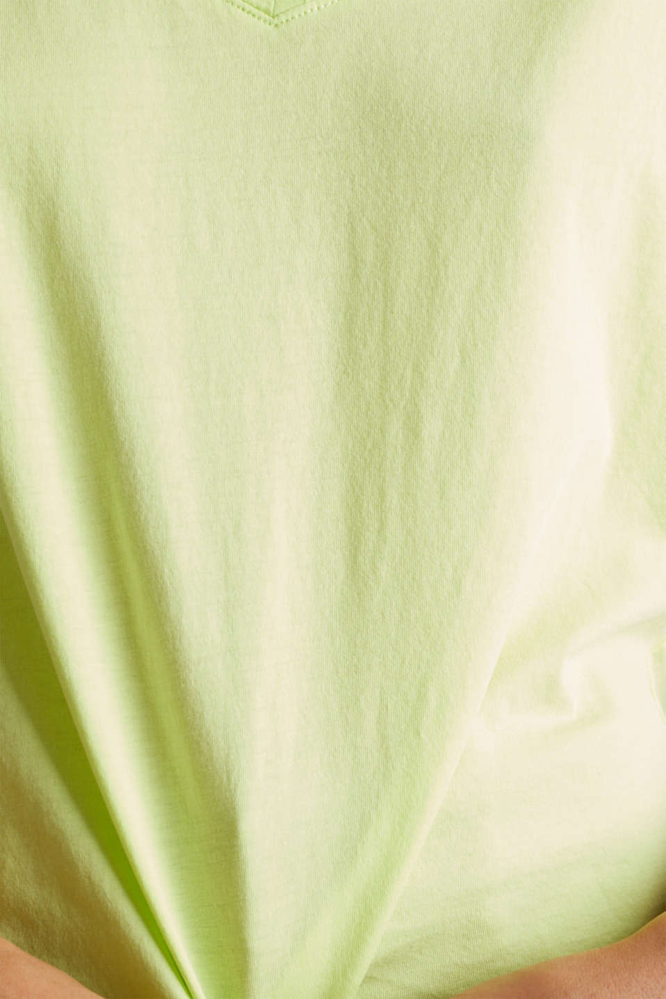 V-neck top, 100% cotton, LIME YELLOW 4, detail image number 4