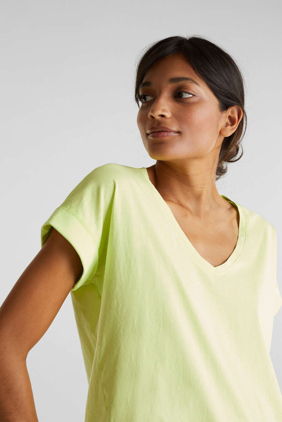 V-neck top, 100% cotton, LIME YELLOW 4, detail image number 5