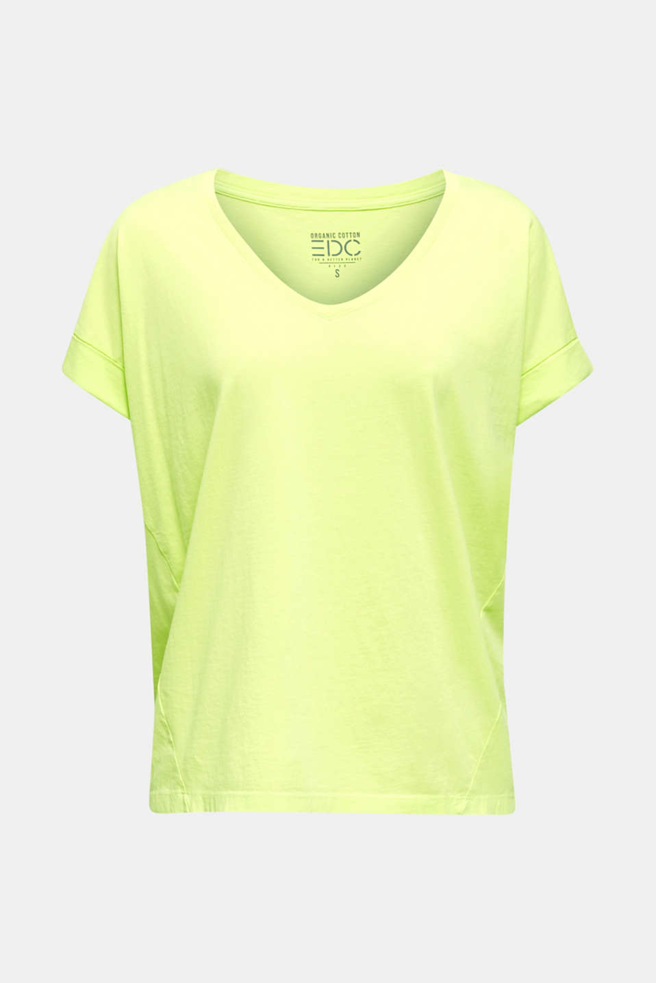 V-neck top, 100% cotton, LIME YELLOW 4, detail image number 6