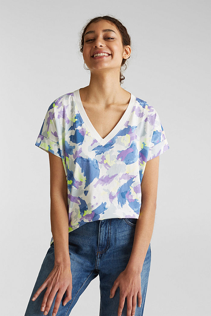 Printed top with a V-neckline, 100% cotton, OFF WHITE, detail image number 0