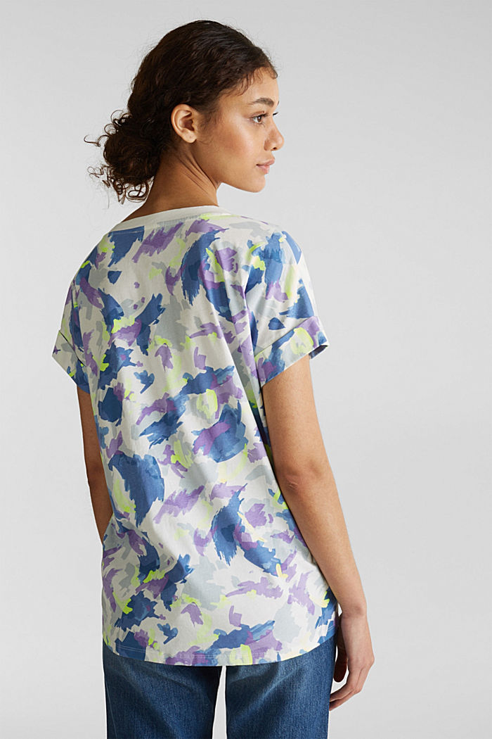 Printed top with a V-neckline, 100% cotton, OFF WHITE, detail image number 3