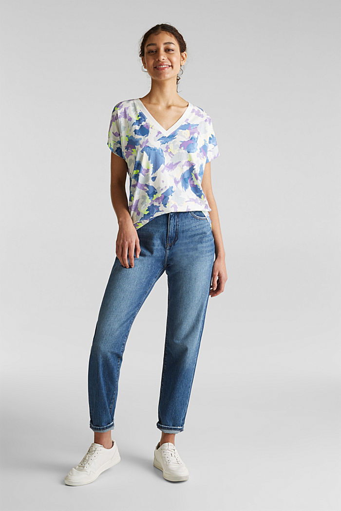 Printed top with a V-neckline, 100% cotton, OFF WHITE, detail image number 1