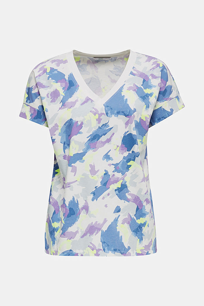 Printed top with a V-neckline, 100% cotton, OFF WHITE, detail image number 7
