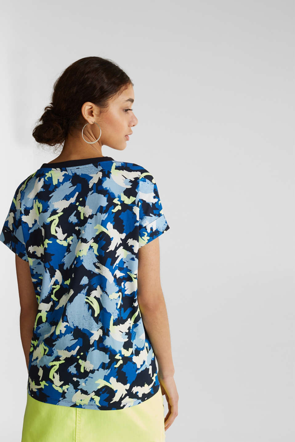 Printed top with a V-neckline, 100% cotton, NAVY, detail image number 3