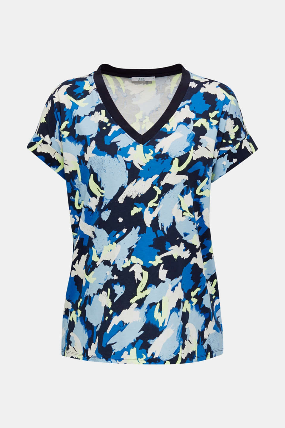 Printed top with a V-neckline, 100% cotton, NAVY, detail image number 6