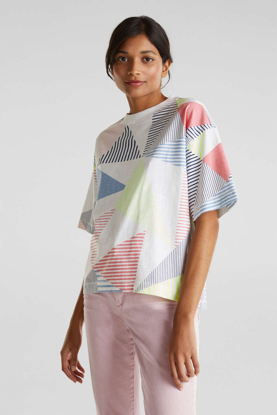 Boxy top with a striped print, 100% cotton, WHITE, detail image number 0