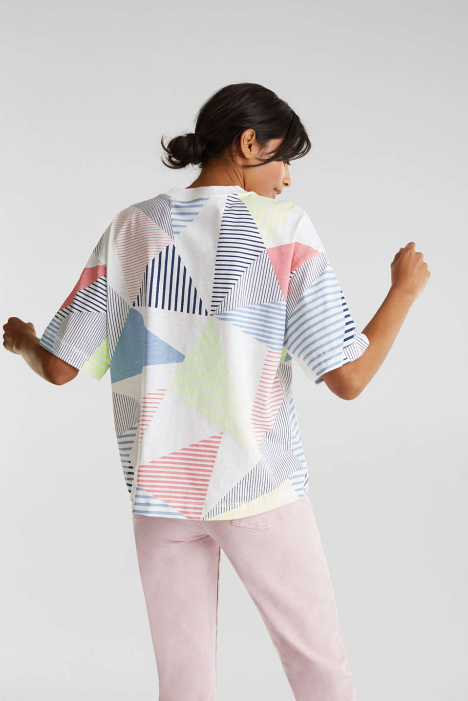 Boxy top with a striped print, 100% cotton, WHITE, detail image number 3