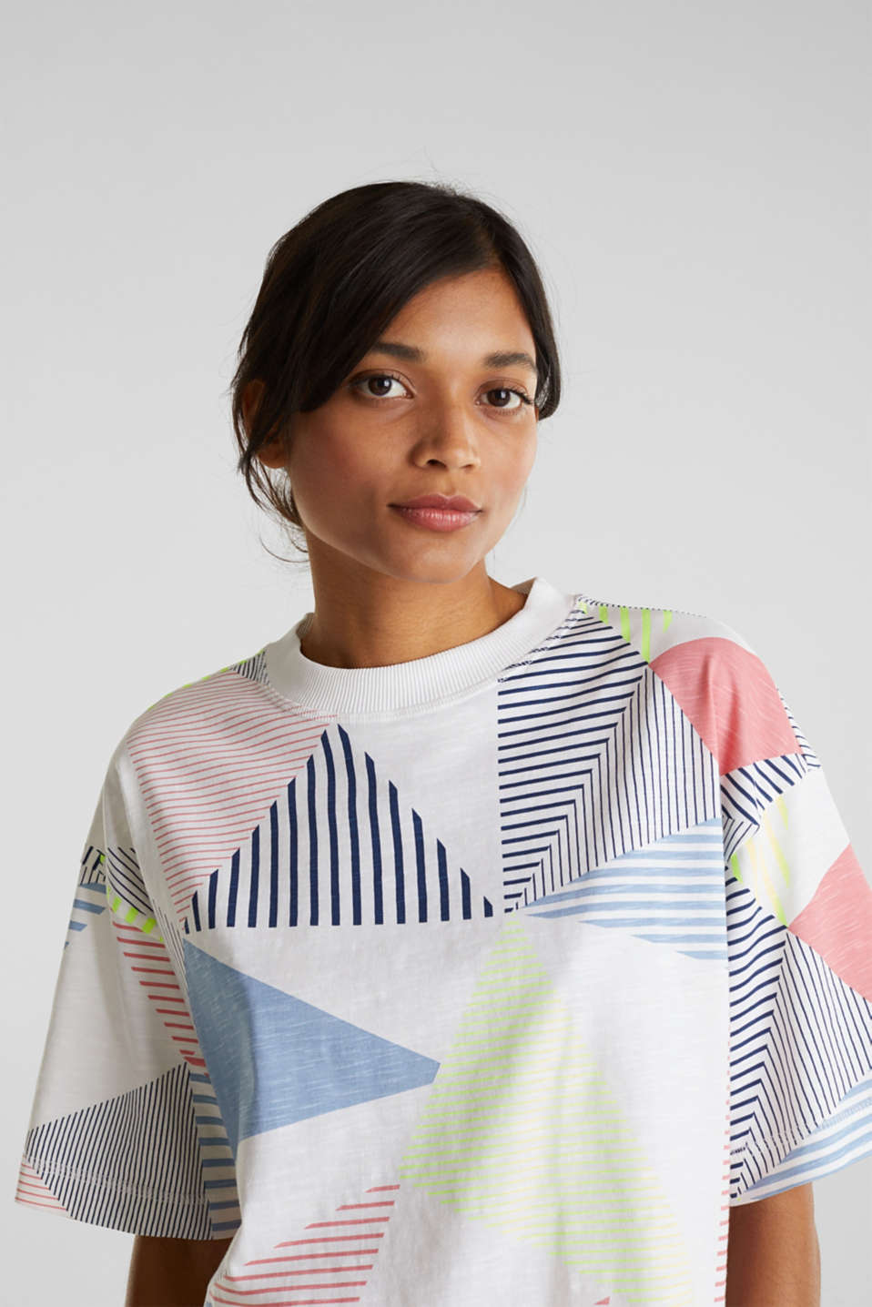 Boxy top with a striped print, 100% cotton, WHITE, detail image number 2