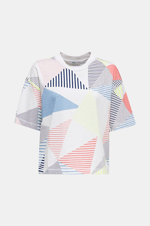 Boxy top with a striped print, 100% cotton