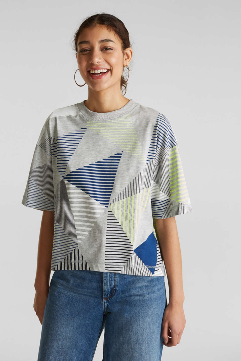 Boxy top with neon stripes, LIGHT GREY 5, detail image number 0
