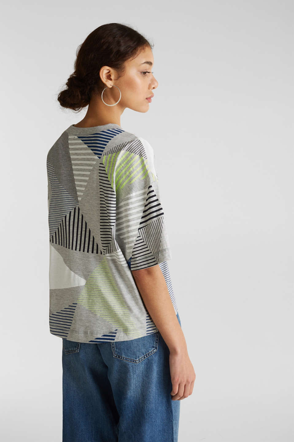 Boxy top with neon stripes, LIGHT GREY 5, detail image number 3