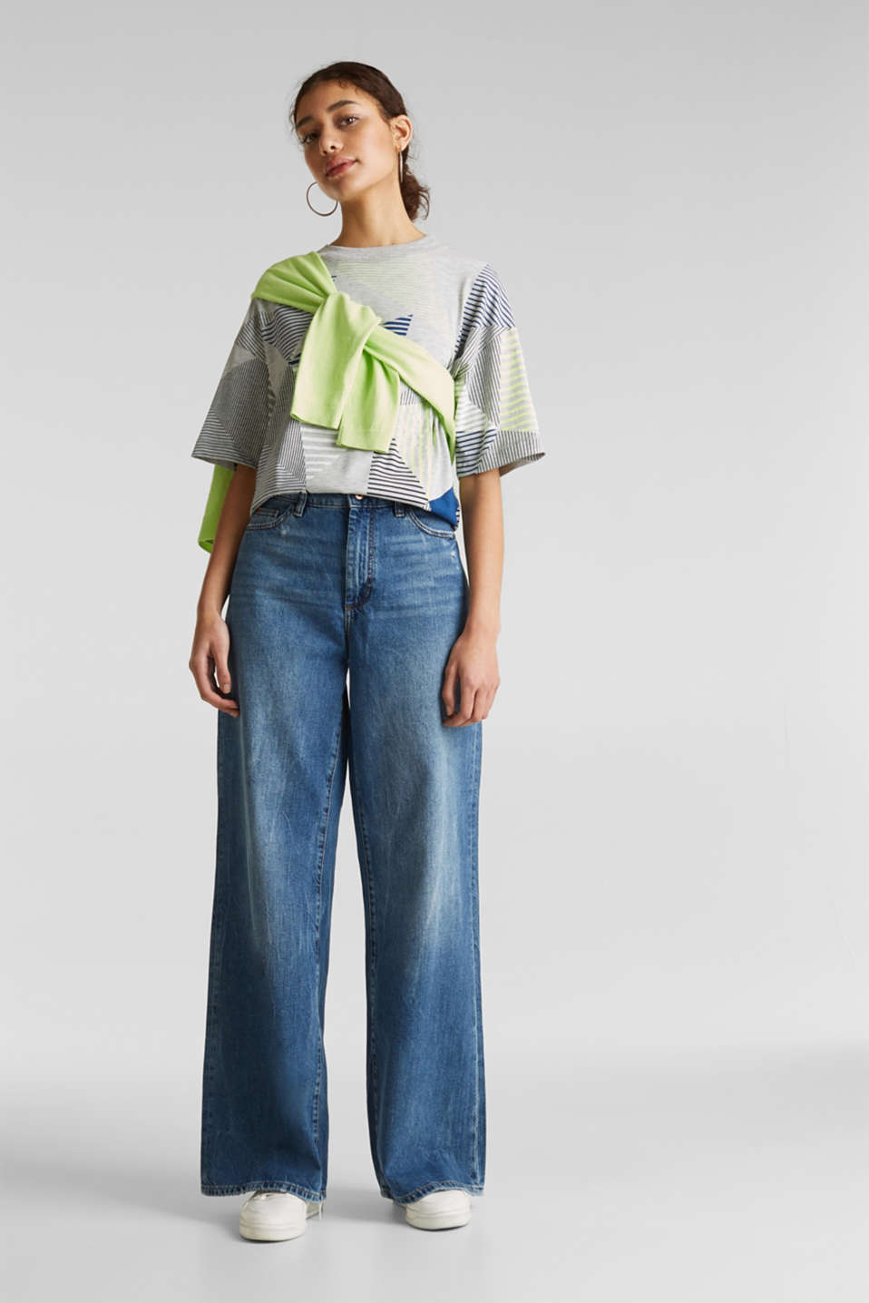 Boxy top with neon stripes, LIGHT GREY 5, detail image number 1