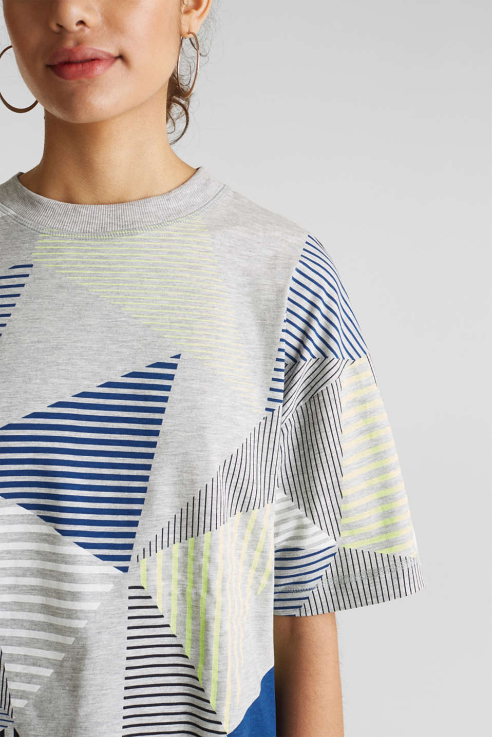 Boxy top with neon stripes, LIGHT GREY 5, detail image number 2