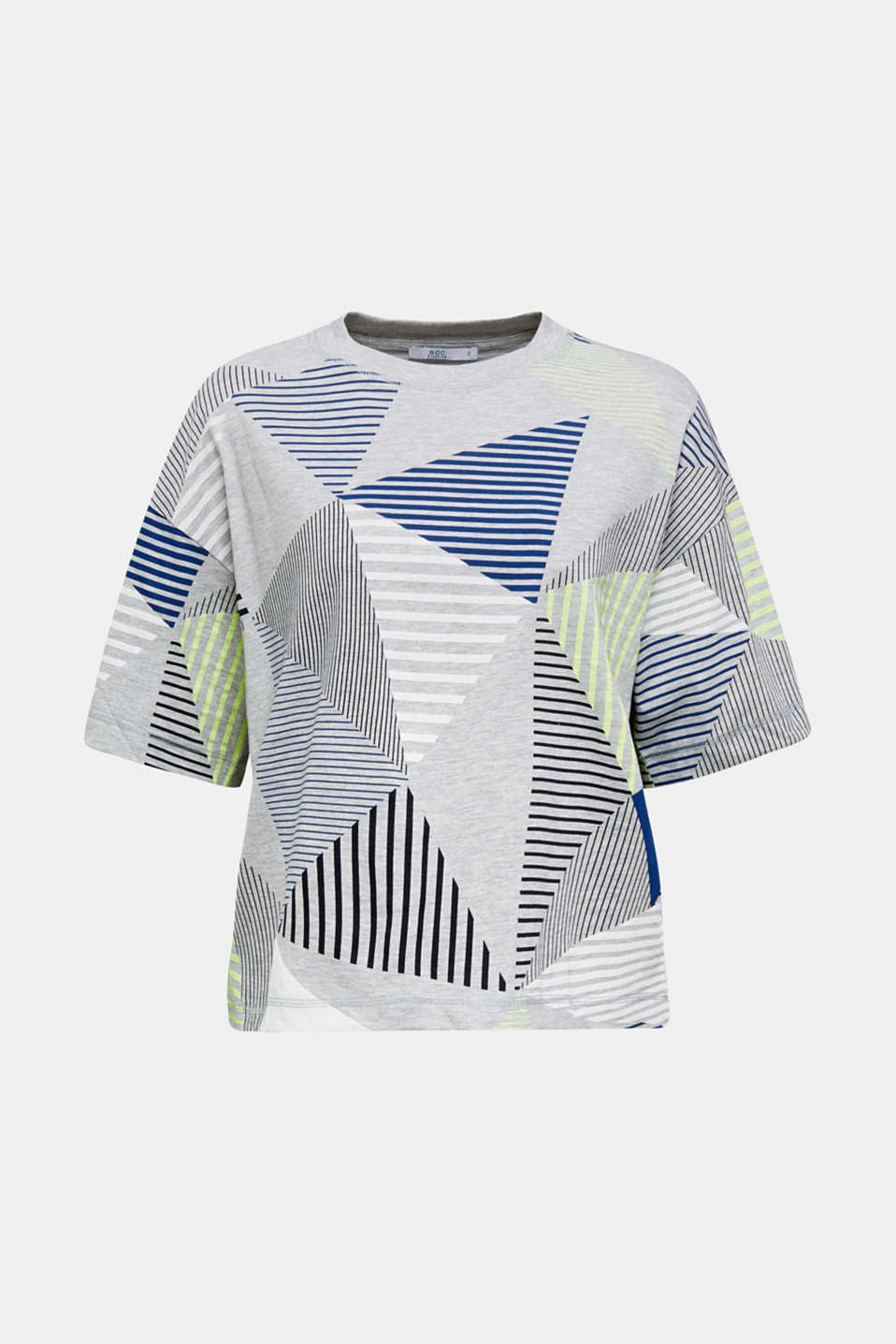 Boxy top with neon stripes, LIGHT GREY 5, detail image number 6