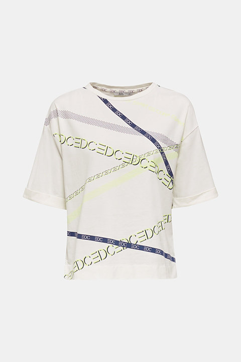 T-shirt with a neon logo print, 100% cotton