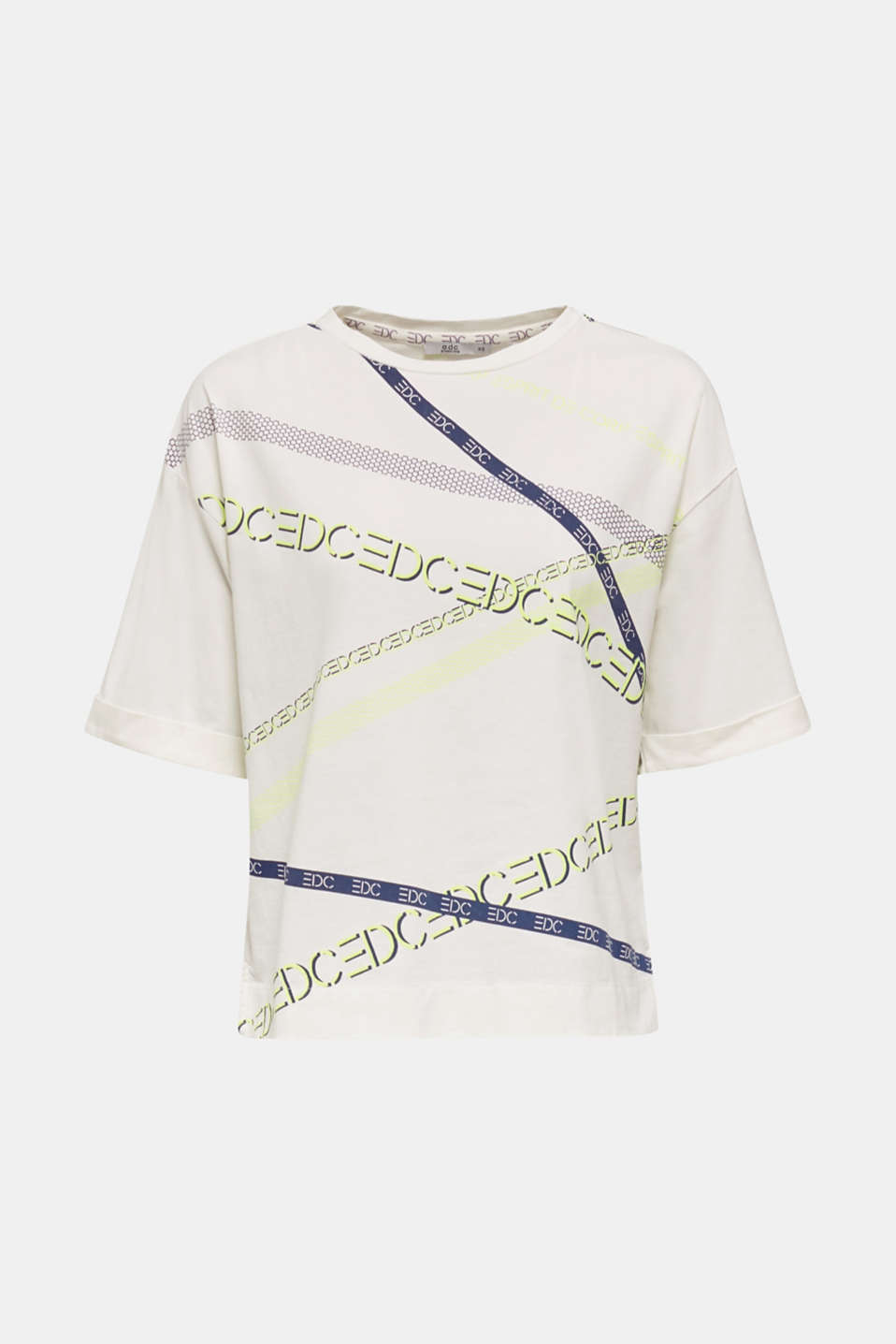 T-shirt with a neon logo print, 100% cotton, OFF WHITE, detail image number 6